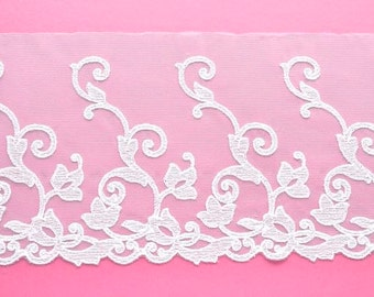 White Lace Trim, Climbing Flower White Floral Lace, Wedding Dress, Bridal Lace, Mantilla, Wedding Veil