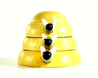 Ceramic Beehive Measuring Cups Replacement Pieces: 1/2, 1/3, or 1/4 cup Stacking Honey Bee