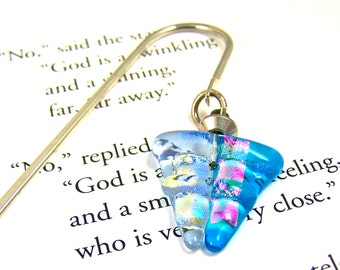Dichroic & Stained Glass Bookmark - Triangle - Turquoise Pink Lavender Blue - Silver Plated Shepherd Hook Page Marker