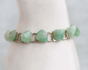 Green Agate Bracelet - Stone Links Boho Bracelet - Vintage Natural Jewelry