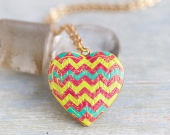 Heart Shaped Locket Necklace - Colorful Chevron Photo Keepsake Pendant on Chain