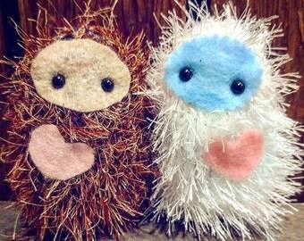 "Squatchies!  Baby 'Squatch friend, plush mini bigfoot, furry sasquatch pocket yeti monster fantasy pal, 4"" tall"