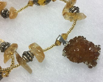 Citrine and crystal necklace