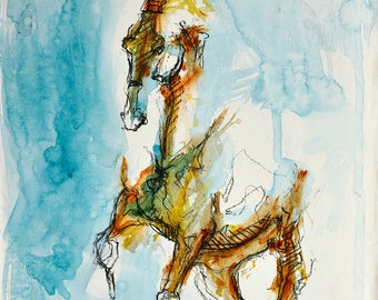 Dressage Horse, Animal, Modern Original Fine Art, Acrylic and Black Chalk Painting of a Horse, Equine Artist, Equestrian