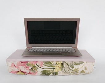 Romantic peony lapdesk with pillow, Laptop stand- light grey tray with peony pattern pillow