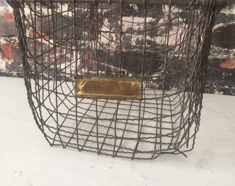 Vintage industrial wire old school gym factory locker basket