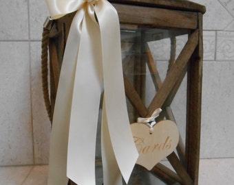 Rustic Wooden Lantern Wedding Card Holder / Wedding Card Box / Wedding Card Holder / Rustic Wedding Lantern / Wedding Decorations /