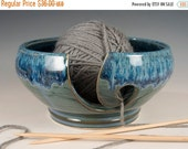 Yarn / Knitting Bowl - flowing soft blue glaze - Wheel Thrown Stoneware by Seiz Pottery