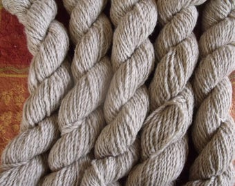 Yarn, ranch grown and locally millspun, worsted weight, soft beige, 2 ply