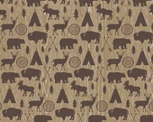 LAMINATED cotton fabric (aka oilcloth coated wipeable fabric) by the yard - Tribal Hunting Animals EXCLUSIVE - Safe for children's products