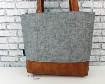Lulu Large Tote  Grey Denim and PU Leather - Diaper Bag 6 pockets Nappy Bag