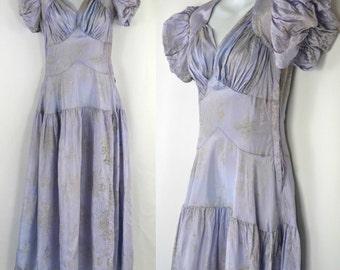 1930s Periwinkle Lavender Formal Dress, Drop Waist Party Prom Dress