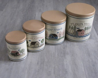 Vintage 80's Metal Canisters - Set of Four