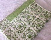 Vintage Green and Cream Linen Tablecloth