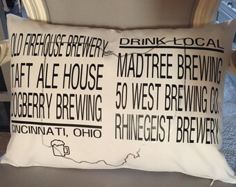Custom Micro Brewery/Drink Local/Craft Beer Pillow