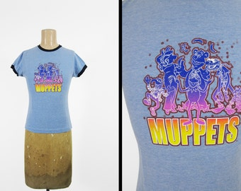 Vintage 80s Muppets T-shirt Heather Blue Ringer Psychedelic Tee - Women's Small