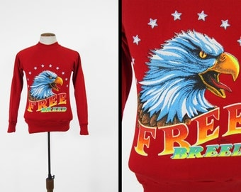 Vintage Biker Bald Eagle Sweatshirt Red Pullover Free Breed Made in USA - Small