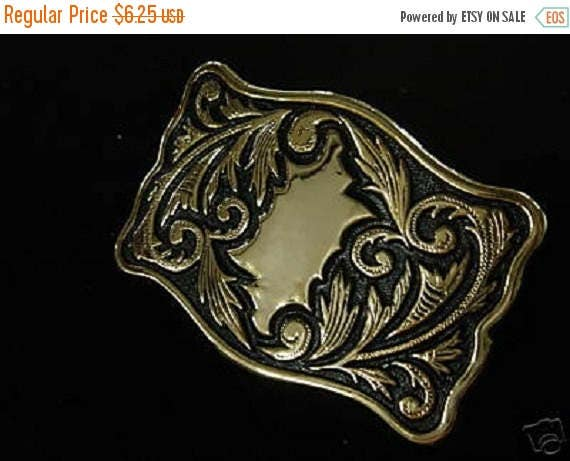 Craft Sale - Western Style Gold with Black Background Undrilled Belt Buckle   35-1027-20