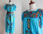 Vintage Mexican Dress - 1970's Aztec Ethnic Boho Hippie Peasant Dress - Size M