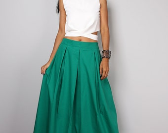 Green skirt - Long skirt - Floor length green maxi skirt : Feel Good Collection No.3