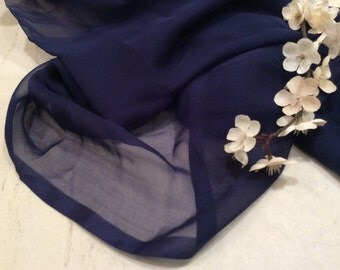 Vintage Sheer Blue Silk Chiffon Fabric, Vintage Textiles, , Vintage Material, Doll Clothes Fabric, Vintage Sewing Supplies