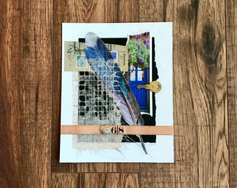 Feather, Collage Art, Collage, Mixed Media Art, Key, Blue door