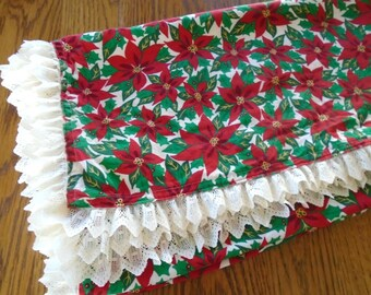 Hand Made Christmas Tablecloth / Lace Edge / Vintage tablecloth / Red Poinsettia / Cream Lace / Square / Small /