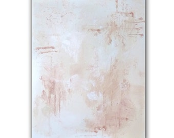 "Original Abstract Acrylic Painting, 16x20 Christian Art titled ""Risen"", White Wall Art"