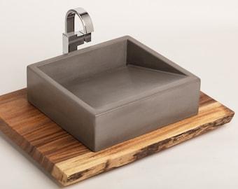 "Concrete Vessel Sink, Concrete Sink, Vessel Sink, Bathroom Sink - ""Ramp Sink"" 4 color options"