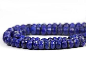 Lapis Lazuli Micro Faceted Rondelles 4 Peacock Blue Natural Semi Precious Gemstones