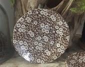 Vintage set of 4 Desert plates - Calico Pattern brown and white transferware