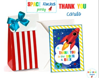 SPACE ROCKET Thank You CARDS ~ Printable Instant Download