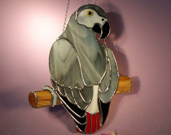 Stained Glass Suncatcher African Grey Parrot  (773)