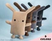 Stuffed bunny plush, Easter Bunny stuffed animal, Cute rabbit lover gift, Kawaii Japan plushie soft toy doll, white black fleece, boy girl