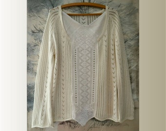Women's sweater, ecru cotton sweater, openwork romantic sweater, shabby, boho, artsy unique sweater, upcycled clothing, recycled sweater