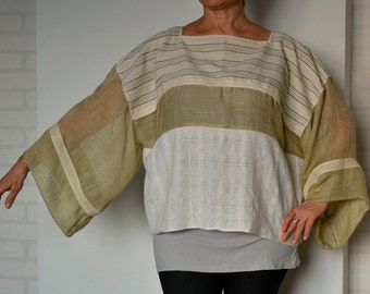 Women's loose tunic kimono, cotton tunic sleeves, oversize tunic, summer tunic, boho tunic, upcycled clothing, top, plus size tunic
