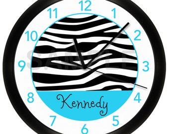 Turquoise Blue Zebra Print Personalized Nursery Wall Clock Quiet Motor