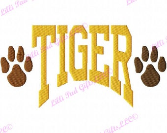 TIGER- Arched - Paw Prints - Embroidery Design - 13 Sizes