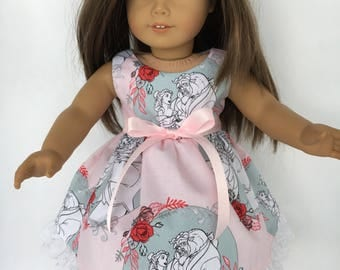 18 inch doll dress made of pale pink from Beauty and the Beast, made to fit 18 inch dolls such as American Girl dolls and others
