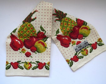 Vintage Linen Fruit Kitchen Towel by Parisian Prints Hawaiian Pineapples Apples Cherries Pears Red Polka Dots New Unused with Original Tags