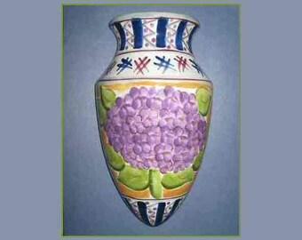 "Vintage Hand Painted Large Ceramic Wall Pocket Vase; Purple Hydrangea; CBK Ltd LLC; Inverted Teardrop Shape; Flat Back; 9"" H x 5""W x 2"" D"
