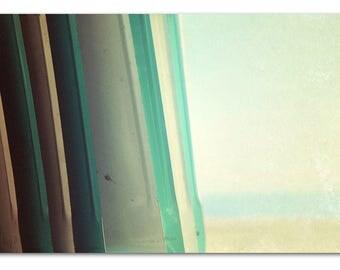 mid century modern artwork, large mint art, vintage beach, mint, aqua, beach photography - shade, fine art photograph