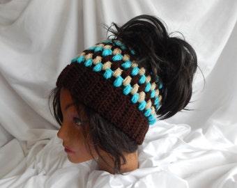 Pony Tail Messy Bun Hat - Crochet Woman's Fashion Hat - Brown, Aqua, Beige