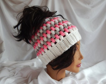 Messy Bun Hat Pony Tail Hat - Crochet Woman's Fashion Hat - Pink, Gray, White