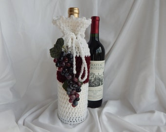 Wine Bottle Cover - White and Burgundy with Red Grape Tassels