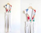 On SALE Vintage 70's Vicky Vaughn Patchwork Jumpsuit Overalls / XS Petite