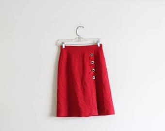 """Vintage High Waisted Red Skirt / Wool Blend / Lined Skirt 26""""-27"""" waist"""