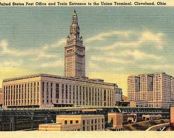 Cleveland, Ohio, Post Office, Train Entrance, Union Terminal - Vintage Postcard - Postcard - Unused (ZZ)