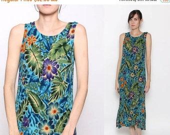 HUGE SALE Vintage 90s Tropical Floral Island Summer Beach Maxi Dress