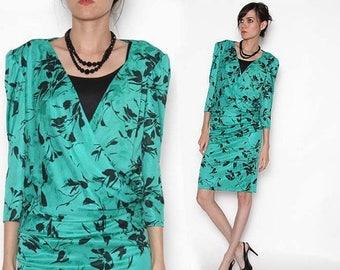 ON SALE Vintage 80s Green Faux wrap Black Floral Dress/ Working Girl / Medium